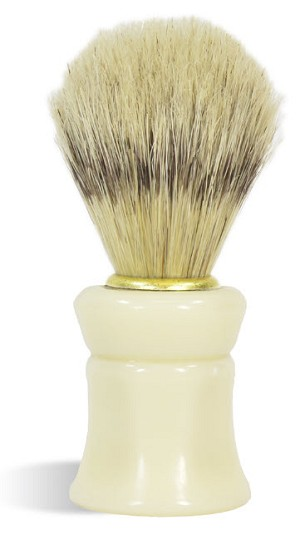 White Shaving Brush - Comfort Grip, Made with boar bristle!